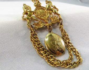 Vintage Lion Crest Locket Dangle Brooch Pin