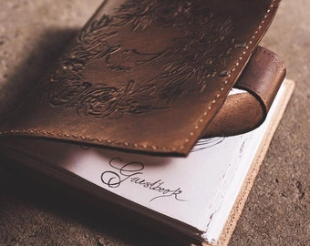 Leather Guest book  - custom designed (weddings, events)
