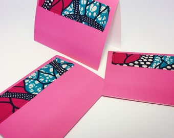 Pretty in Pink Greeting Card // Wax Print Blank Card // African Fabric Blank Card with Envelope