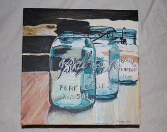 Three Glass Jars 9 x 9