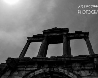 Arch of Hadrian, Athens - Greece - Black and White Photo