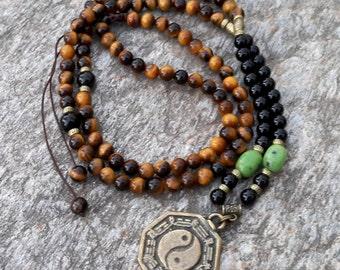 108 Mala Necklace Adjustable Mala Gemstone Meditation Mala Yoga Necklace Bronze Yin Yang Pendant Prayer Mala Beads Counting Mala Mantra Mala