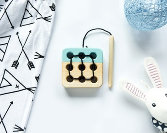 Wooden lacing toy, Educational toy, Toddler gift, Baby gift, Light Blue