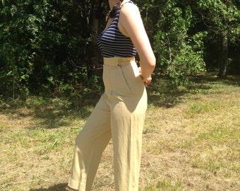 Vintage 1940s Cream High-Waisted Gabardine Pants