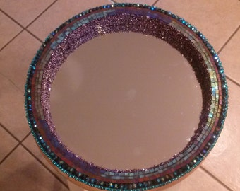 Handmade mosaic stained glass and beaded mirror