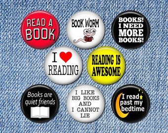 8 Reading Pin Buttons 1.25 Inch Diameter