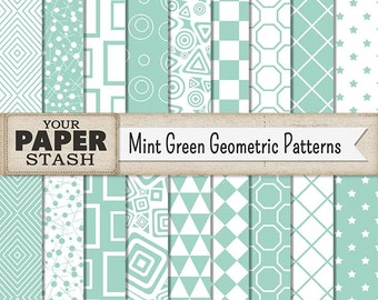 Mint Green Geometric Pattern Digital Paper With Stars, Diamonds, Triangles, Checkerboard Backgrounds, Scrapbook Paper, Commercial Use