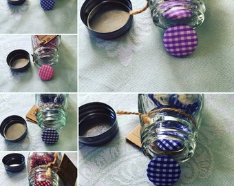 Gingham Fabric Print Buttons in Jars