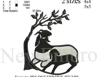 Boer Goat and baby Embroidery Design embroidery pattern No 282 ....2 Sizes :