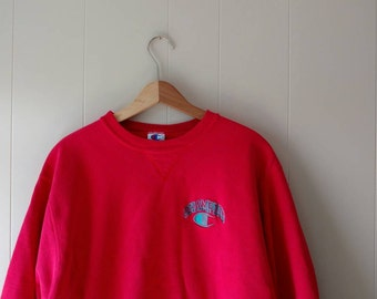 Vintage 90s Champion sweatshirt// red, simple, basic, minimalist sweater, size XL