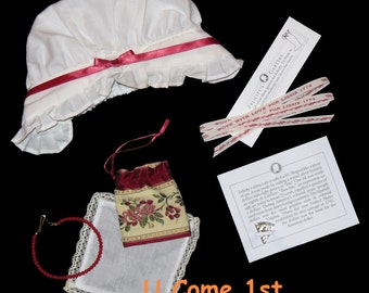FELICITY'S MEET ACCESSORIES! Mob Cap - Purse - Bit - Coral Necklace - Hankie /  Pleasant Company - Pre Mattel / American Girl Doll / Retired