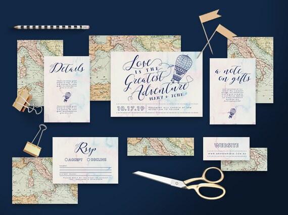 Printable Wedding Invitation Suite Traveller