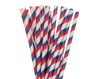 Paper Straws, Navy Blue and Red Striped Paper Straws, Patriotic Party Supplies, 4th of July Straws, Memorial Day BBQ Decor, Red White & Blue