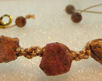 "Bracelet with rubies and amber raw ""Antithesis"" macrame knotted cotton yarn"
