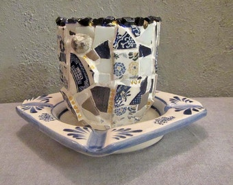 Mosaic candle bowl with semiprecious stones, pebbles, ceramic tiles, blue and white