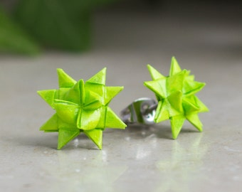 Stars Studs origami paper neon green fröbelstar