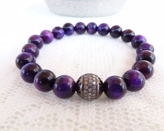 EXPRESS SHIPPING,Purple Tiger Eye Bracelet, 18k Black Rhodium Plated, Swarovski Ball Bracelet,  Mens Womans Jewelry, Meditation,Protective