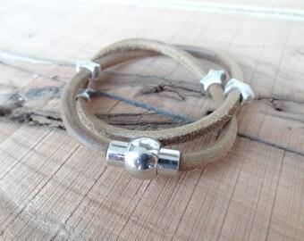 EXPRESS SHIPPING,Unisex Wrap Bracelet,Camel Natural Leather Bracelet,Unisex Jewelry,Magnetic Clasp Bracelet,Cuff Bracelet,Valentine's Gifts