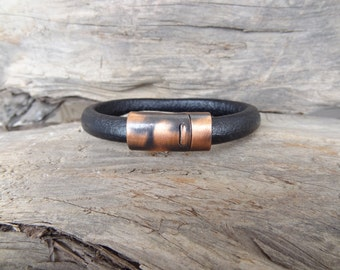 EXPRESS SHIPPING,Men's Black Leather Bracelet, Men's Jewelry, Antiquing Magnetic Clasp Bracelet, Men's Cuff Bracelet, Father's Day Gifts