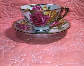 VINTAGE Hand Painted Cup & Saucer Japan Lusterware Fine China