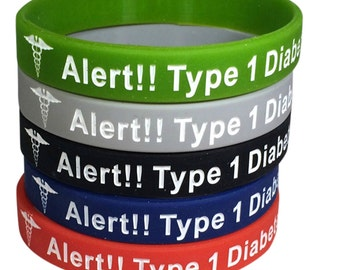 Diabetes Medical Alert Bracelet Type 1 Silicone ID Band Diabetic Wristband(Pack of 5)