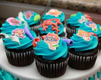 Fondant Bubble Guppies Inspired Cupcake or Cake Toppers