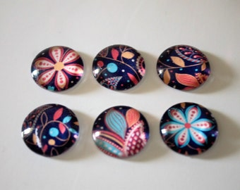 FREE SHIPPING AUS - Navy Paisley Print - Floral - Glass Magnets - 6 Piece Magnet Set - Super Strong