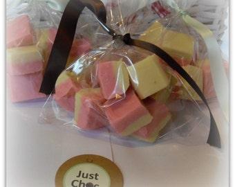 Handmade Home Made Fudge - Strawberries & Cream flavour creamy fudge 150g treat gift bag - birthdays, wimbledon