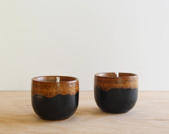 Pair of Black & Terracotta Votive Candles