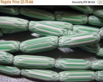 ON SALE Chevron Green Beads 21pcs