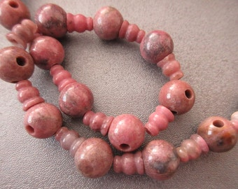 Rhodonite Prayer Mala Guru Bead 3 Holes(23pcs Round 10mm/23pcs Column 8x6mm )