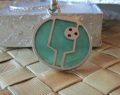 Sterling Silver and Acrylic Pickleball Pendant (pb10-2f)