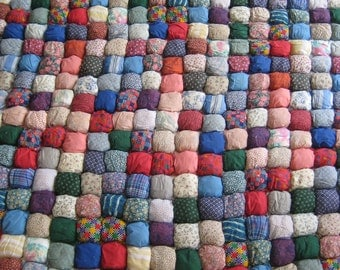 Vintage Puff Quilt Pieces - Vintage Unfinished Quilt  Project - Ready to Ship