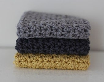 Knit Dish Cloths- grey Dish Cloths- Cotton Dish Rag- Dish Towels- Wash Cloth - Minimalist decor - Set of 3 dish cloths, crochet dish cloth