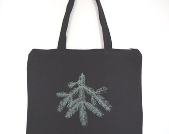 Spruce tote bag with zipper