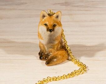 Fox Necklace, fox, fox jewellery, fox pendant, Ceramic fox Figurine on long necklace. Animal jewellery, woodland animal