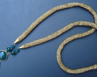 Beaded Crochet Necklace-Emerald and Gold Colored