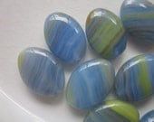 10 Hurricane Glass Beads, Blue and Lime Stripes, 16 x 11mm Flat Oval