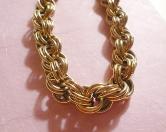 Jewelry Gold Heavy Chain Triple Link Vintage Necklace Jewelry Supplies Costume Jewelry