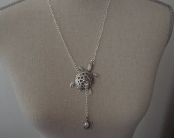 "Necklace handmade ""Double turtles"" silver"
