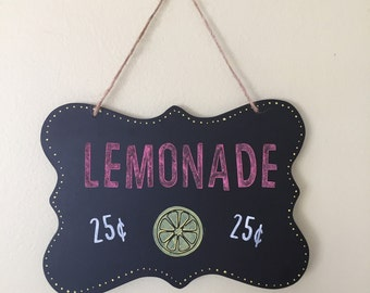 "Chalkboard Look Lemonade sign - hand painted - 6.75"" x 4.75"""
