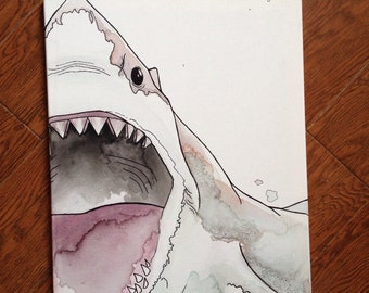 Great White Shark Watercolor Painting