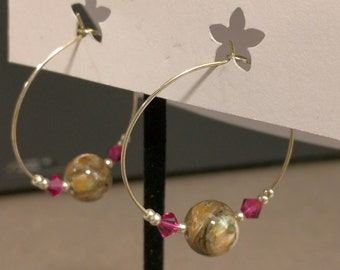 Shell with Dark Pink Crystal Hoops