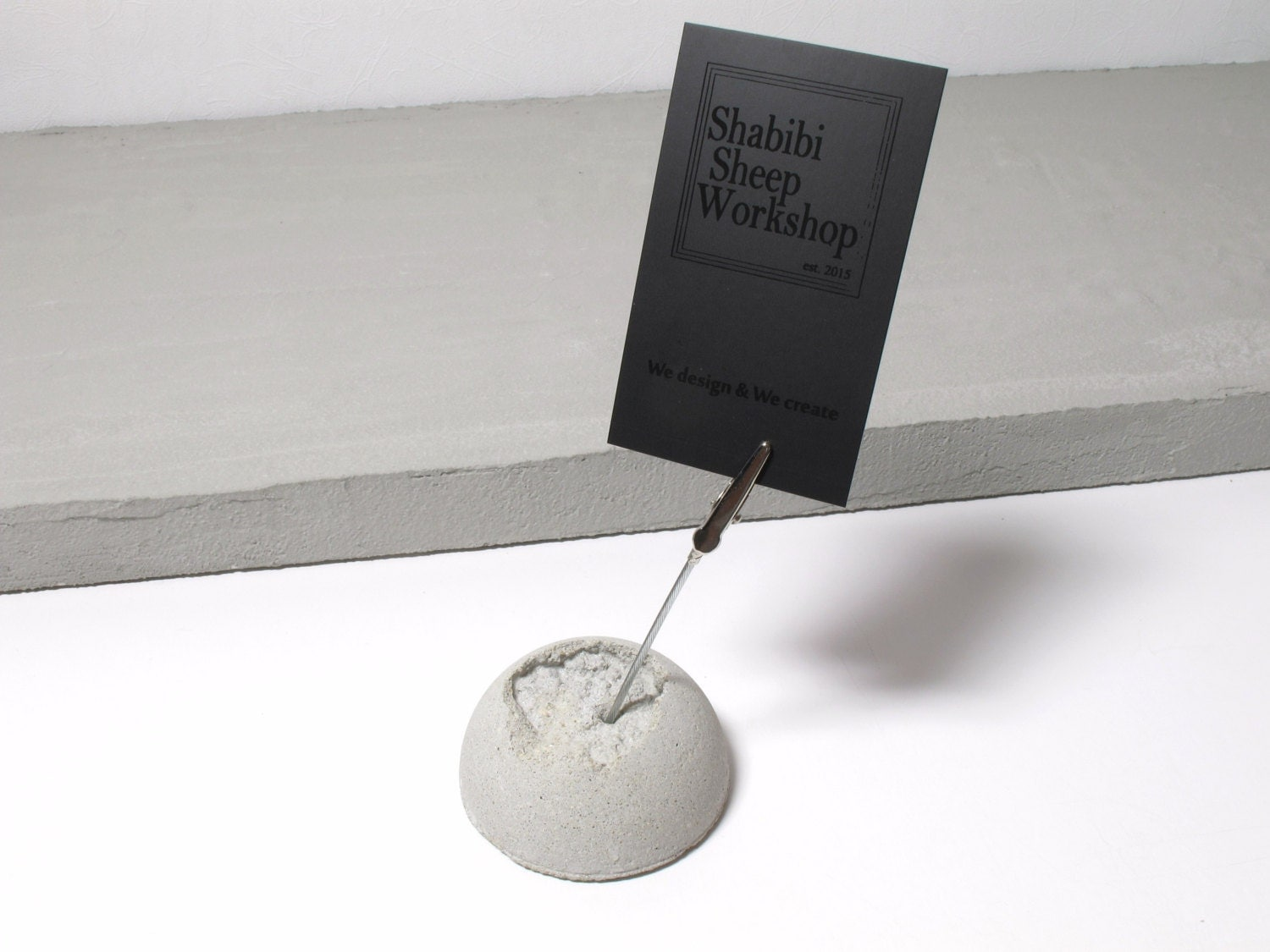 concrete moon photo display    memo stand with metal clip