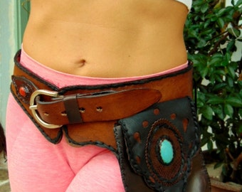 Pocket Belt. Leather Utility Belt.Leather Hip Bag.Fanny Pack.Festival Belt. Handmade Belt. Native American  belt. Boho Belt. Vintage Belt.