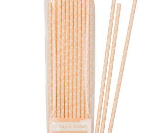 Peach Polka Dot Straws Set of 30 / Paper Straws / Party Straws / Mason Jar Straws