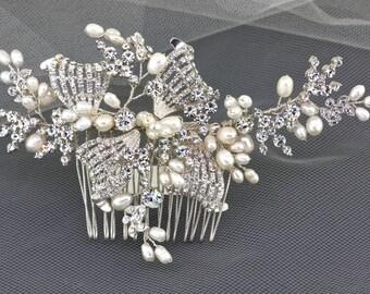 Pearl Bridal Hair Comb,Wedding Hair Comb,Bridal Hair Accessories,Wedding Hair Accessories,Bridal Head Piece,Floral Hair Comb,Hair Pieces