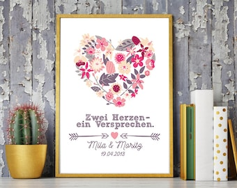 DIN A4 wedding day/anniversary art print, mural ' two openyour a promise ', gift wedding