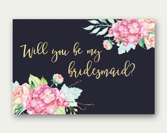 Will You Be My Bridesmaid, Bridesmaid Invite Printable, Bridesmaid Proposal Card, Floral Bridesmaid Printable, Dark Bridesmaid Card