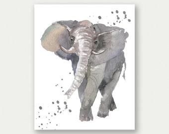 Elephant Painting, Watercolor Elephant Print, Elephant Splatter Print, Elephant Printable, Elephant Nursery Art, Elephant Nursery Decor